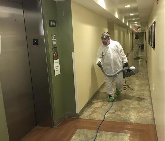 Fogging a hallway of an office